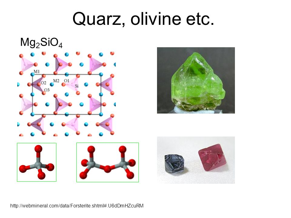 Quarz, olivine etc. Mg2SiO4