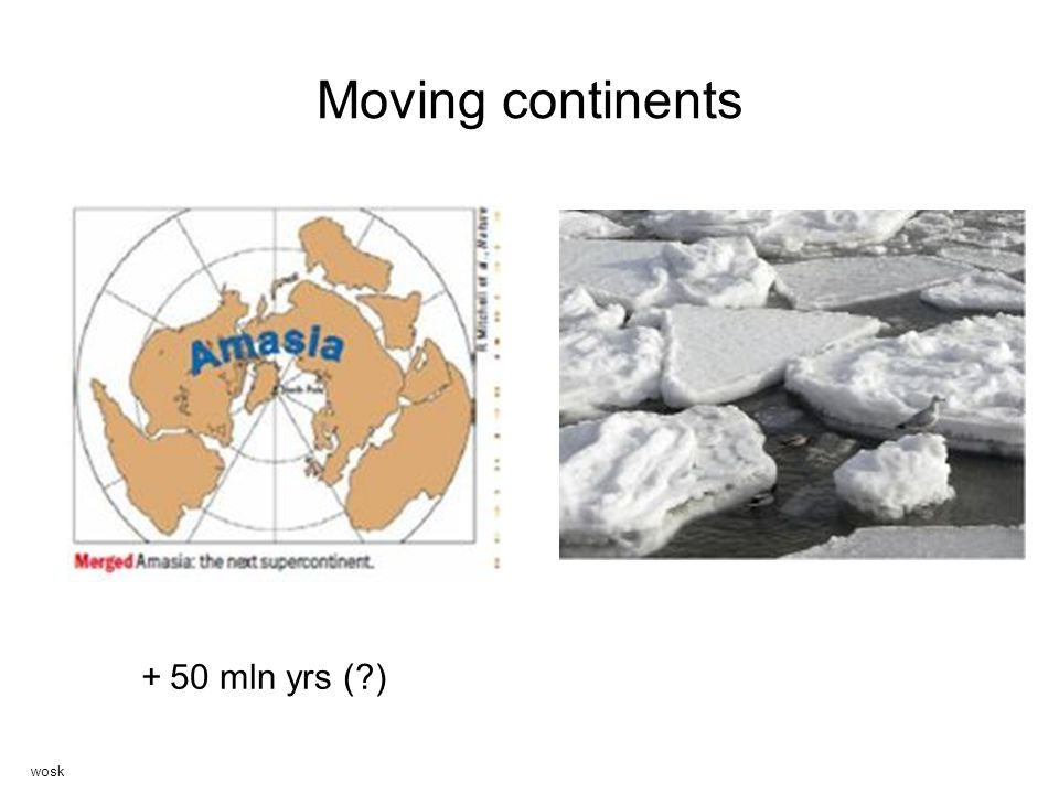 Moving continents + 50 mln yrs ( ) wosk