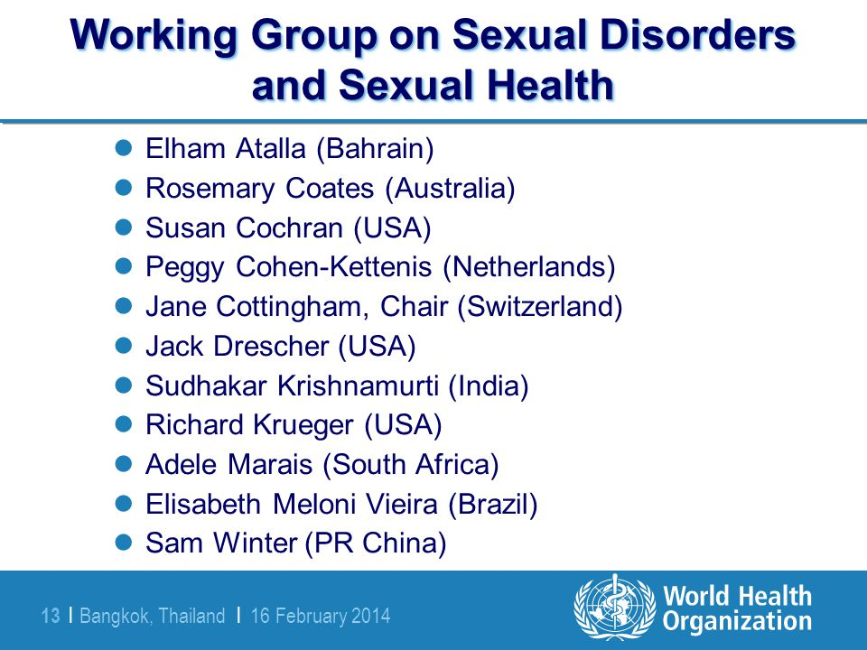 Working Group on Sexual Disorders and Sexual Health
