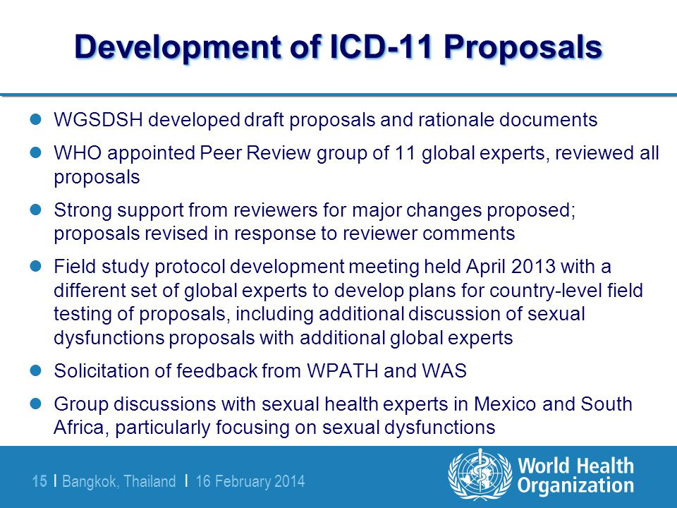 Development of ICD-11 Proposals