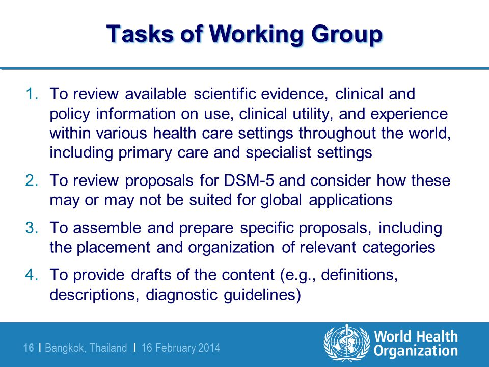 Tasks of Working Group