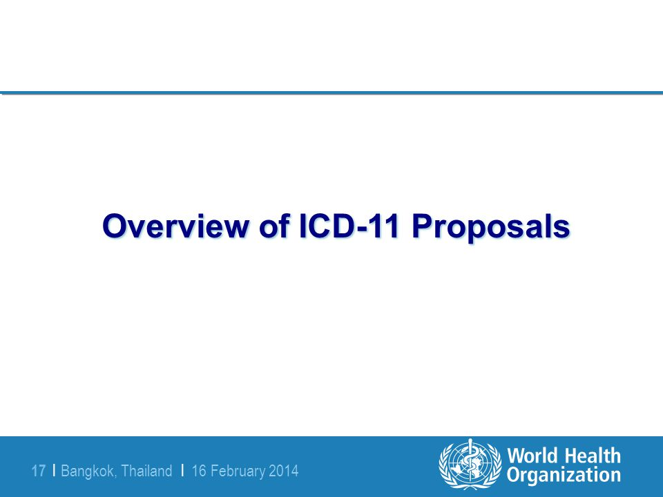 Overview of ICD-11 Proposals