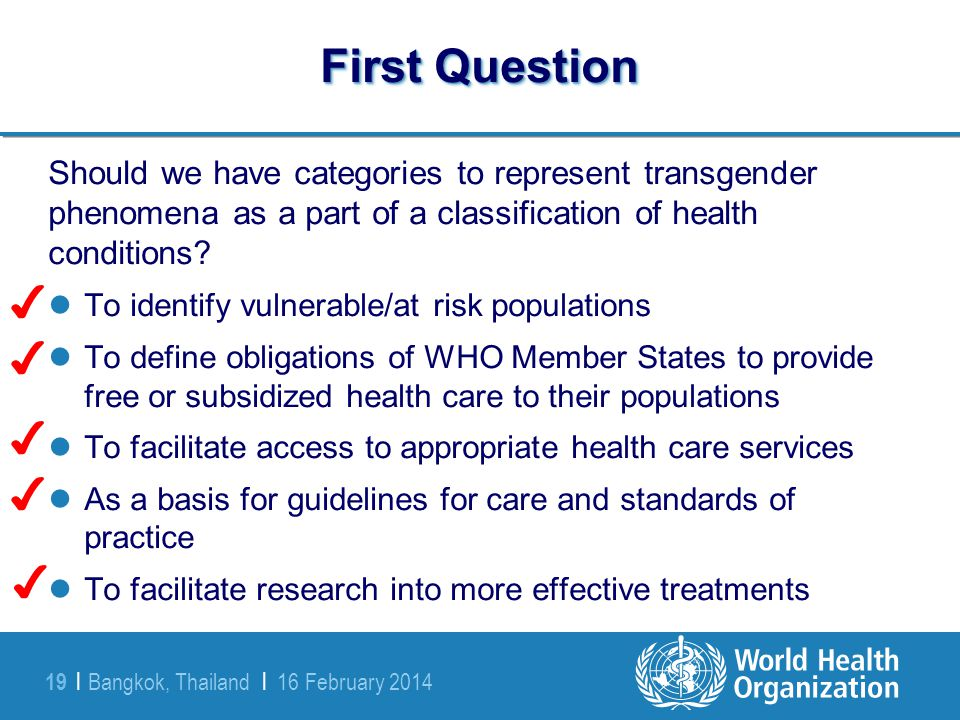 First Question Should we have categories to represent transgender phenomena as a part of a classification of health conditions