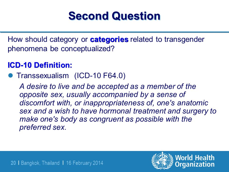 Second Question How should category or categories related to transgender phenomena be conceptualized