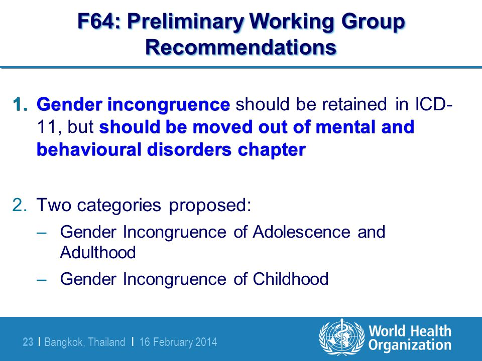 F64: Preliminary Working Group Recommendations