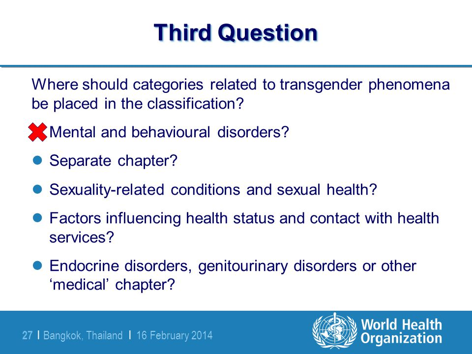 Third Question Where should categories related to transgender phenomena be placed in the classification