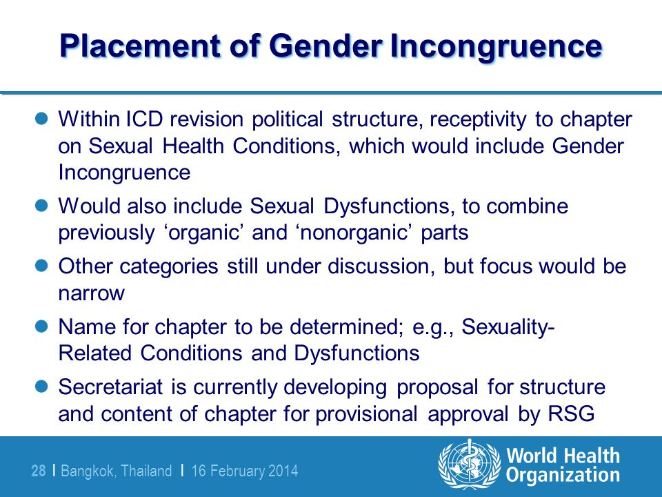 Placement of Gender Incongruence
