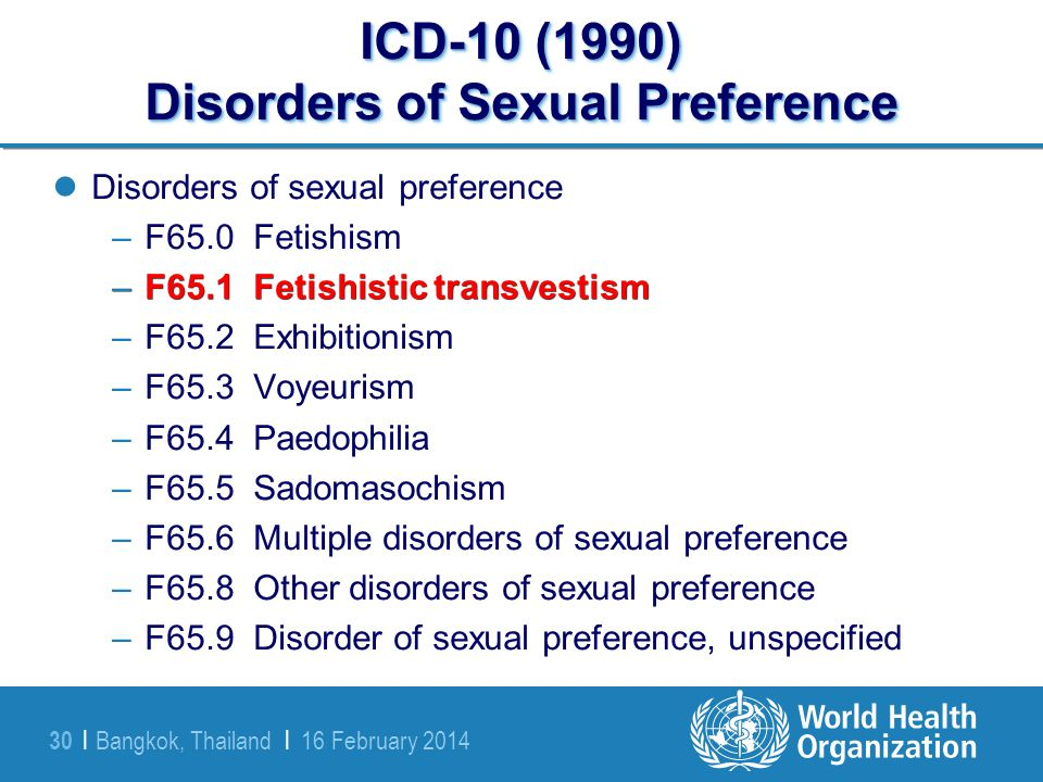 ICD-10 (1990) Disorders of Sexual Preference