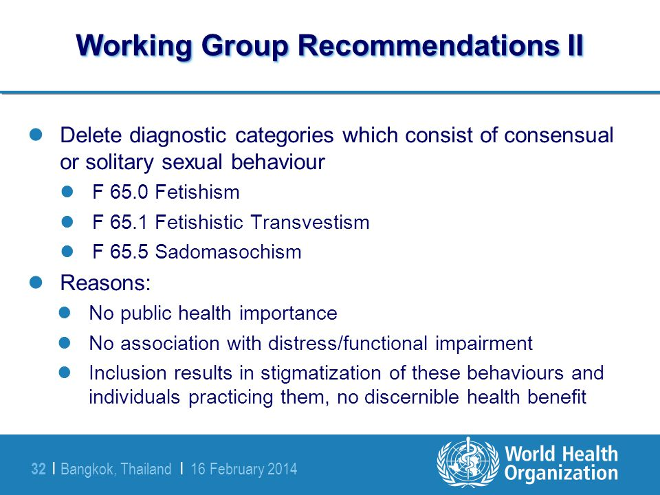 Working Group Recommendations II