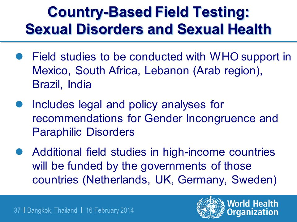 Country-Based Field Testing: Sexual Disorders and Sexual Health