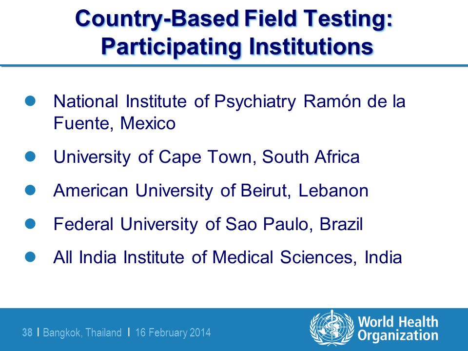 Country-Based Field Testing: Participating Institutions