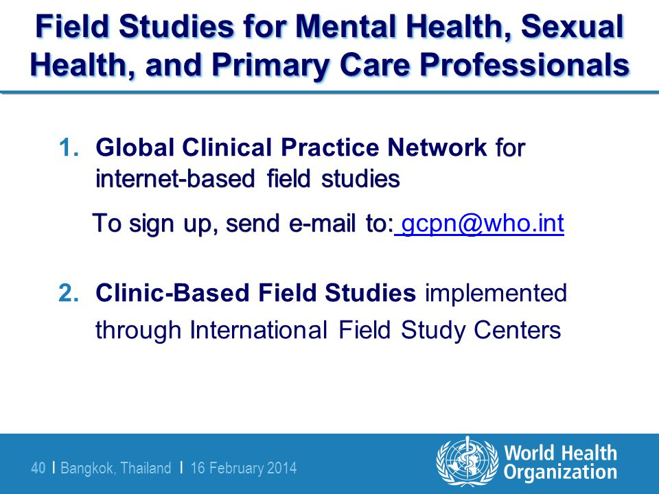 Field Studies for Mental Health, Sexual Health, and Primary Care Professionals