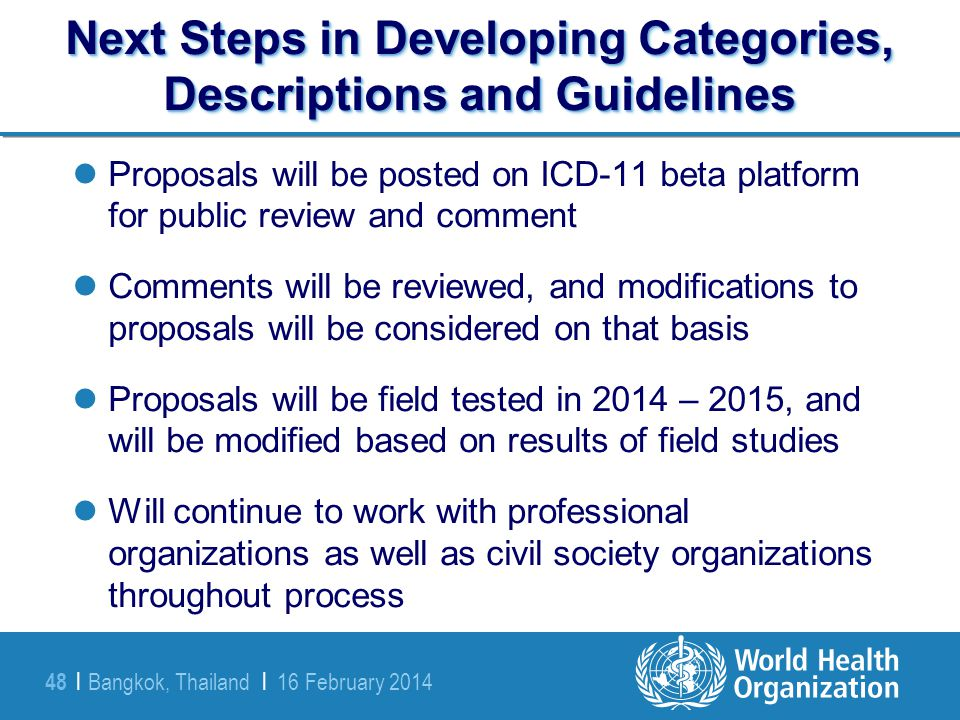 Next Steps in Developing Categories, Descriptions and Guidelines
