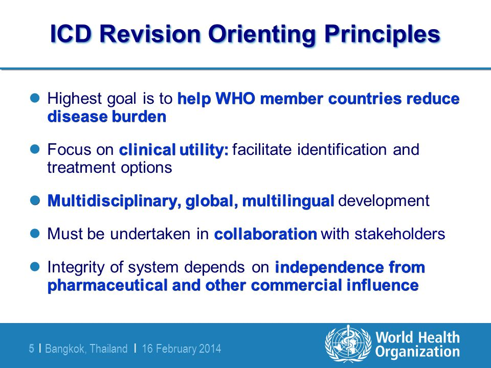 ICD Revision Orienting Principles