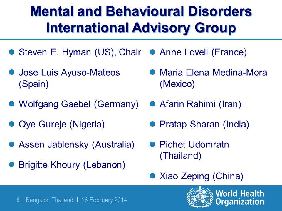 Mental and Behavioural Disorders International Advisory Group