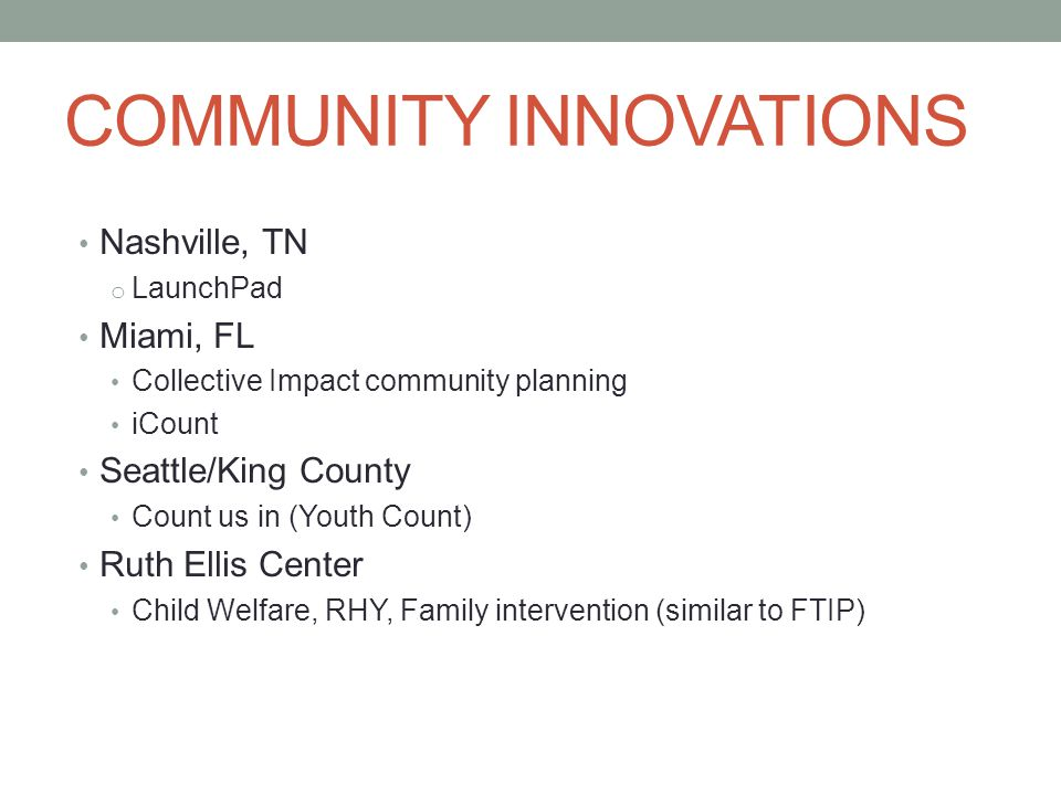 COMMUNITY INNOVATIONS