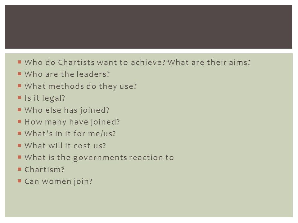 Who do Chartists want to achieve What are their aims