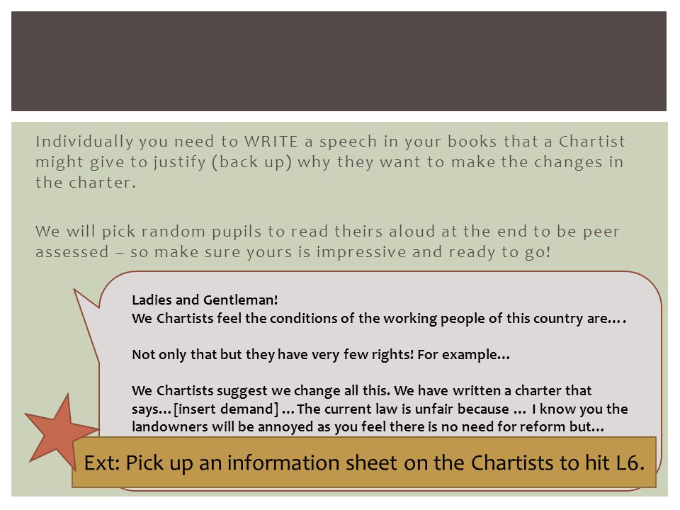 Ext: Pick up an information sheet on the Chartists to hit L6.
