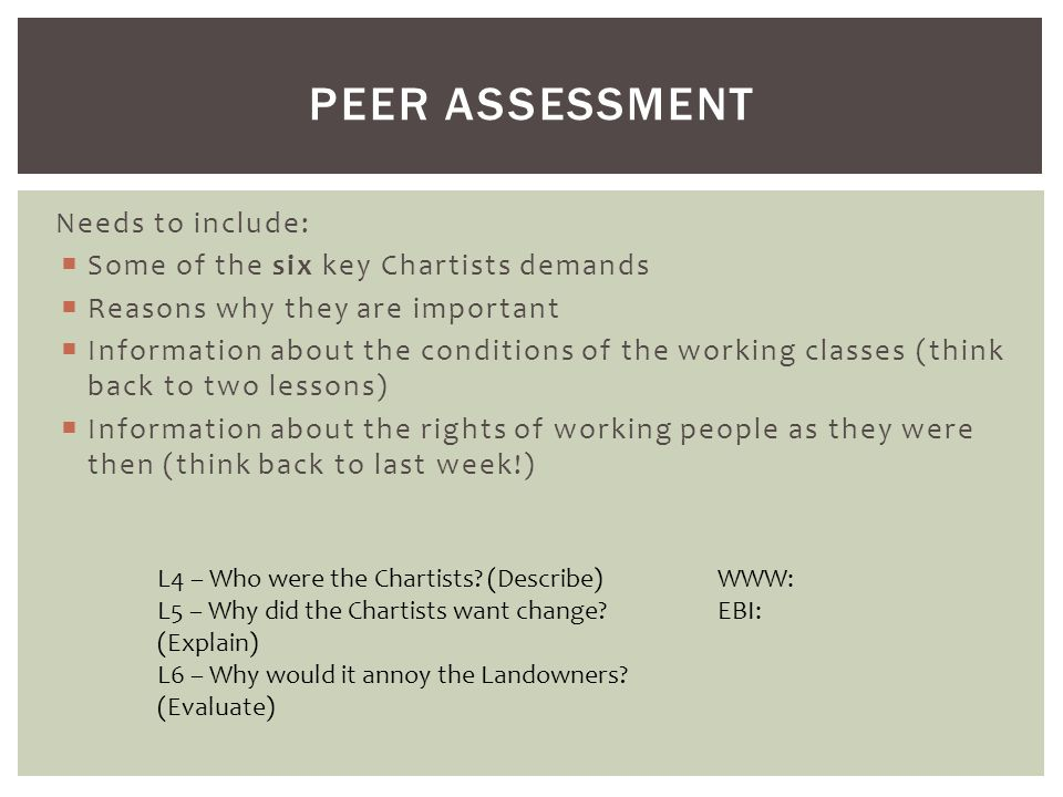 Peer assessment Needs to include: