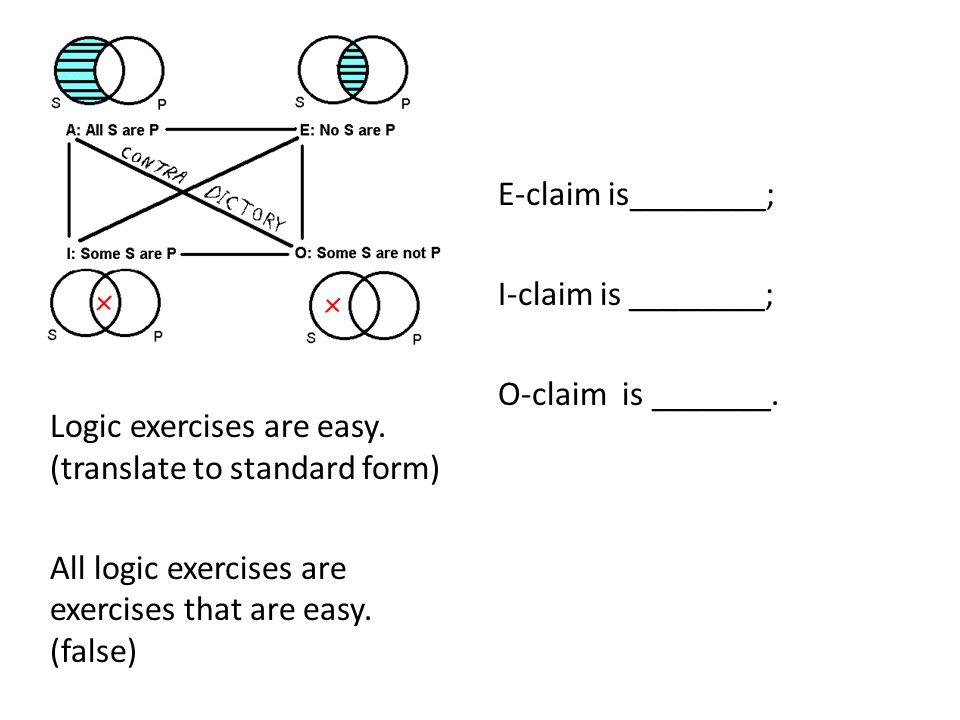 E-claim is________; I-claim is ________; O-claim is _______. Logic exercises are easy. (translate to standard form)