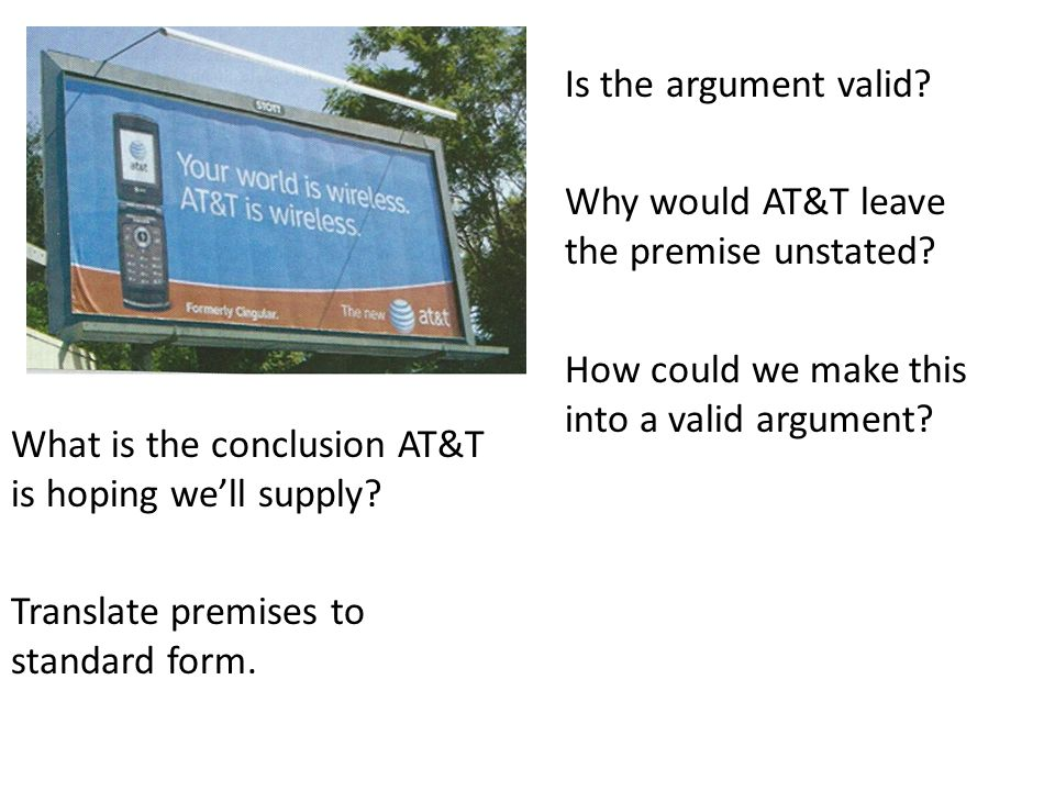 Is the argument valid Why would AT&T leave the premise unstated How could we make this into a valid argument