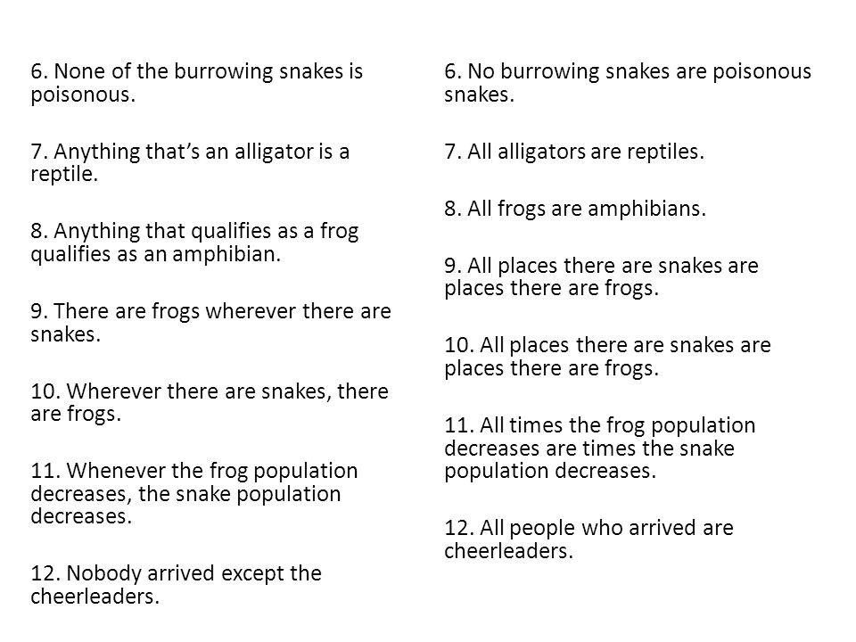 6. None of the burrowing snakes is poisonous. 7