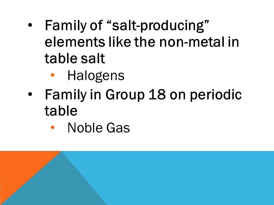 Family of salt-producing elements like the non-metal in table salt