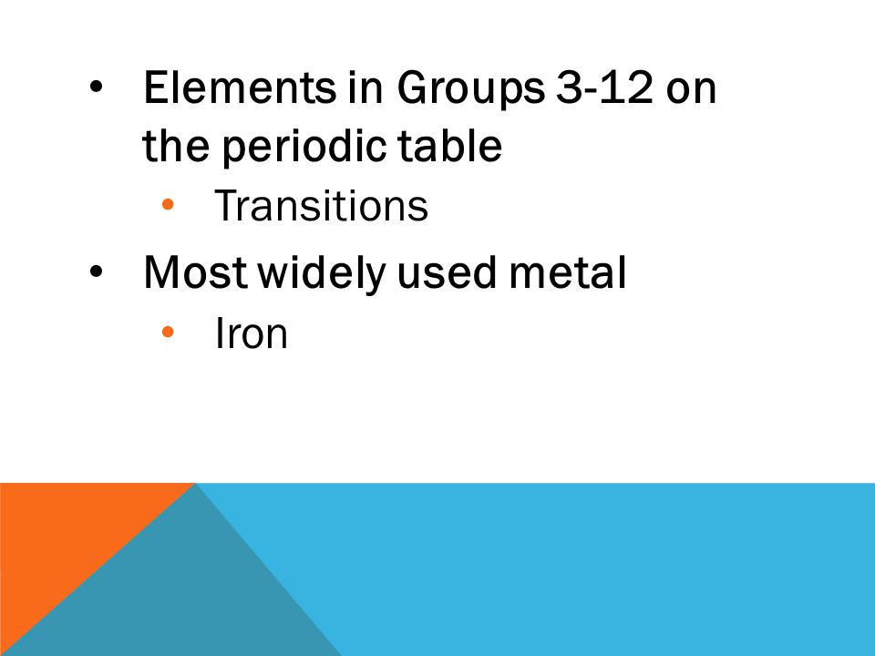 Elements in Groups 3-12 on the periodic table