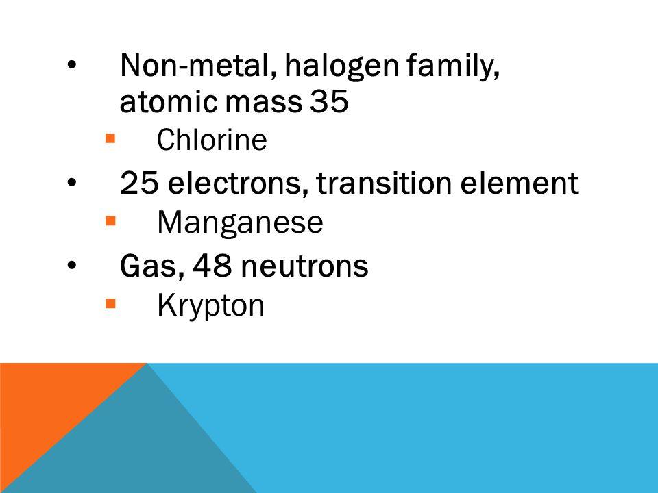 Non-metal, halogen family, atomic mass 35