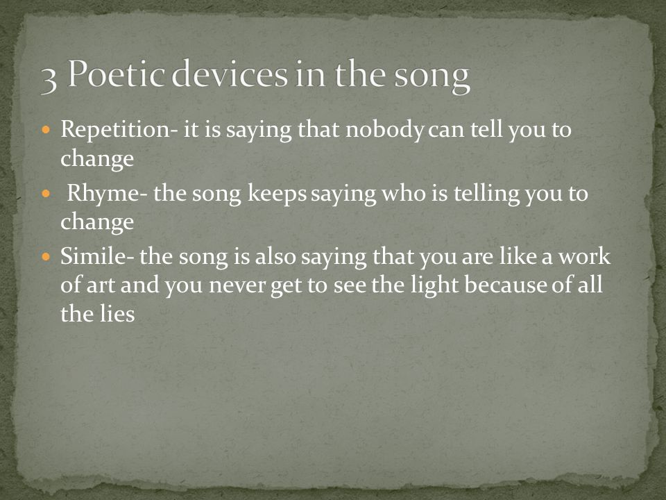 3 Poetic devices in the song
