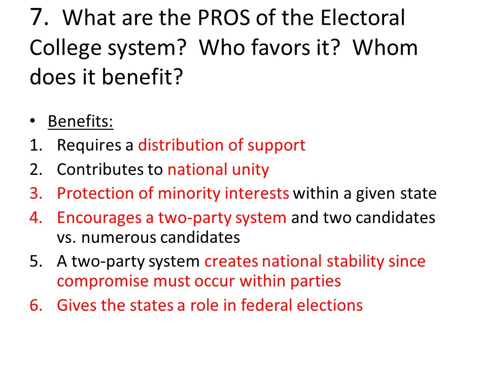 The Pro's and Con's of the Electoral College System
