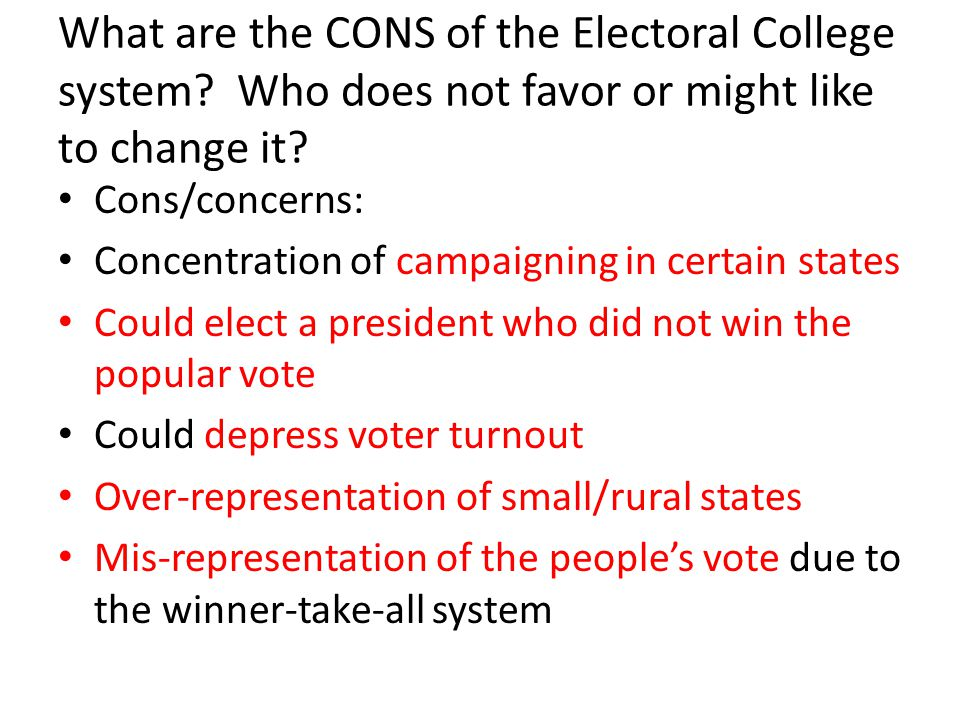What are the CONS of the Electoral College system