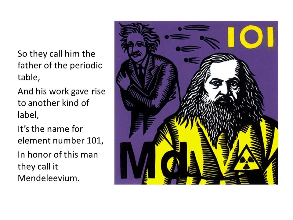 So they call him the father of the periodic table,