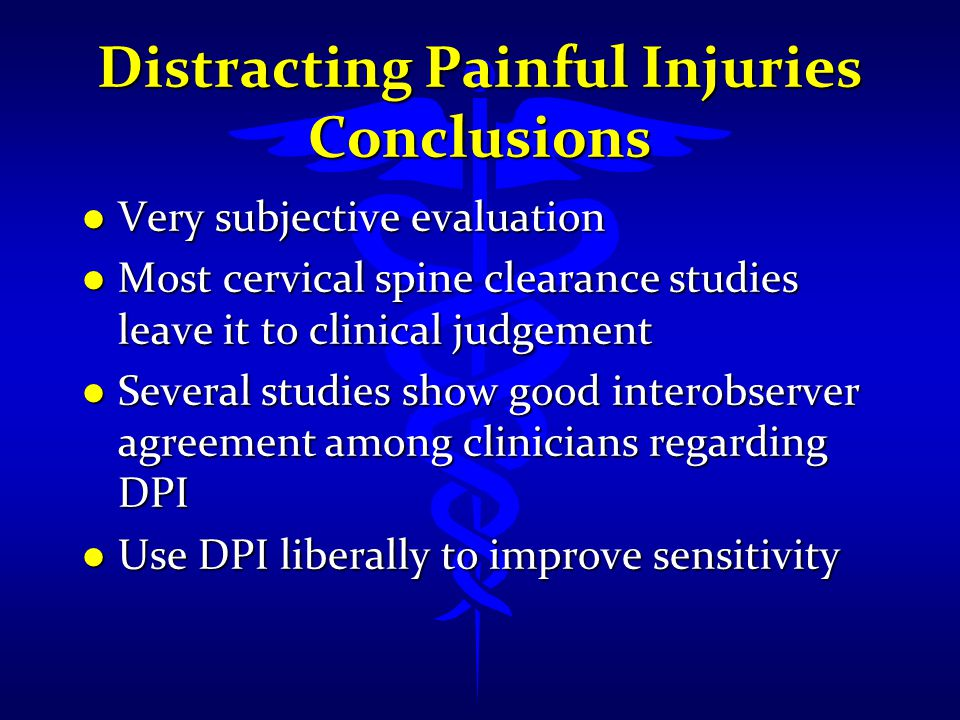 Distracting Painful Injuries Conclusions