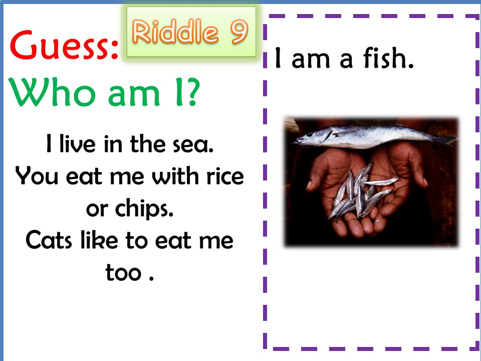 Guess: Who am I Riddle 9 I am a fish.