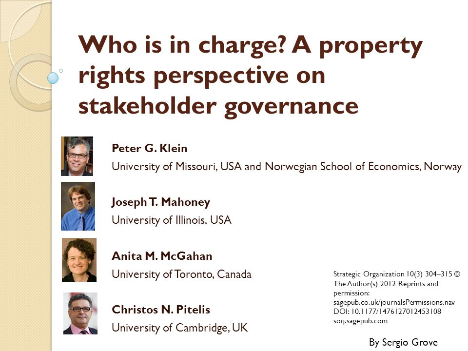 Who is in charge A property rights perspective on stakeholder governance