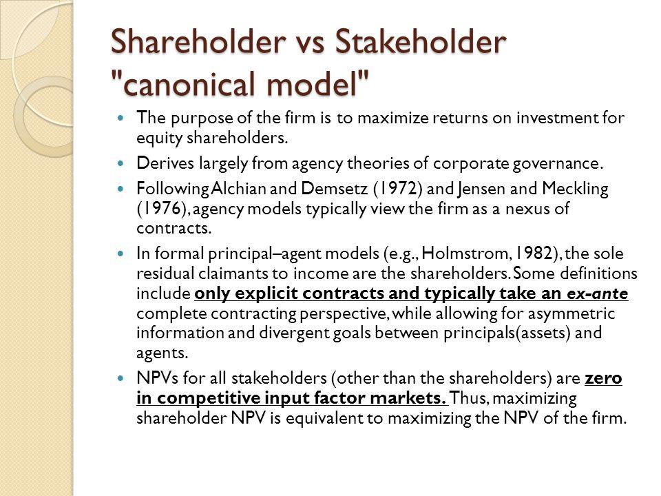 Shareholder vs Stakeholder canonical model