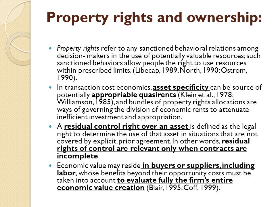 Property rights and ownership: