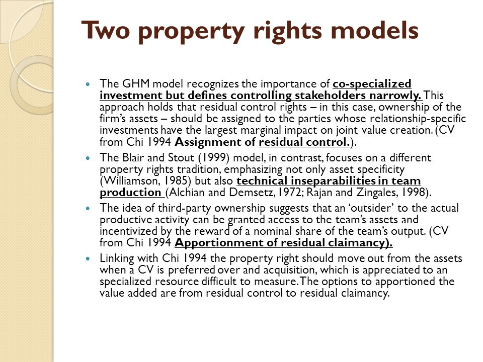Two property rights models