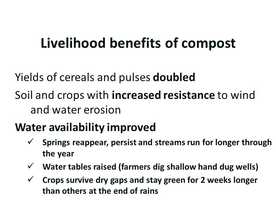 Livelihood benefits of compost