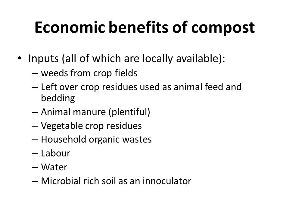 Economic benefits of compost