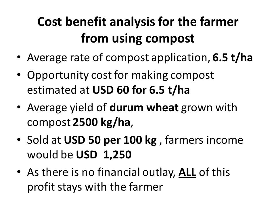 Cost benefit analysis for the farmer from using compost