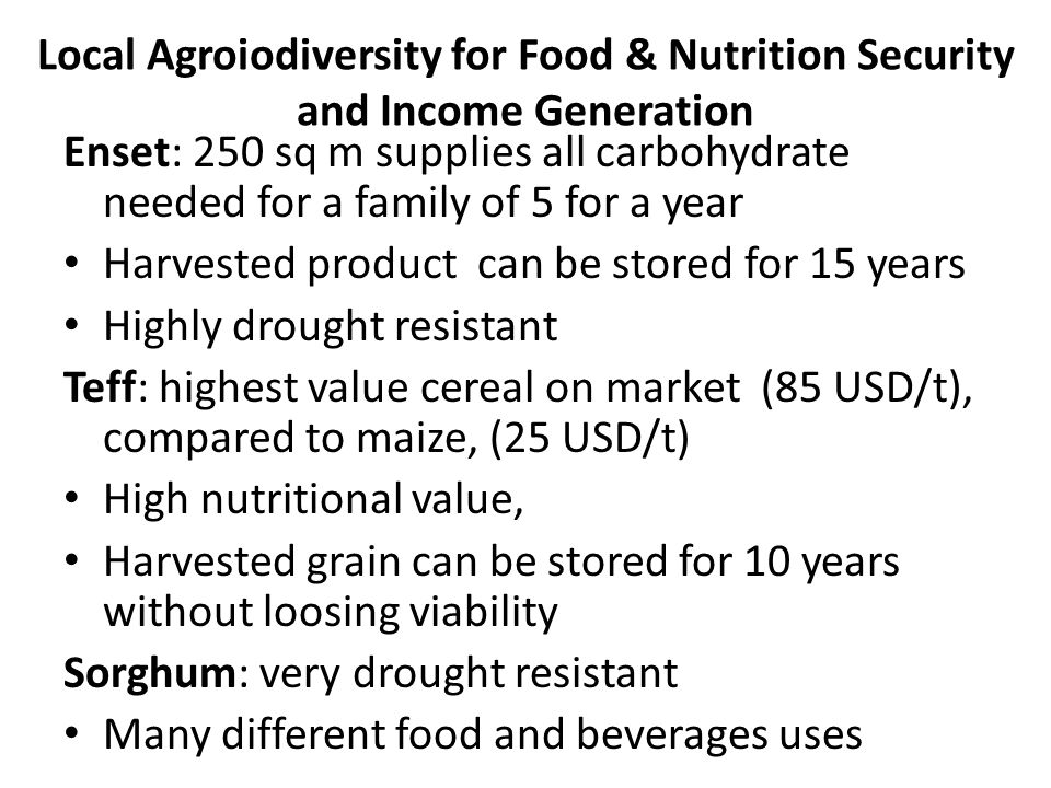 Local Agroiodiversity for Food & Nutrition Security and Income Generation