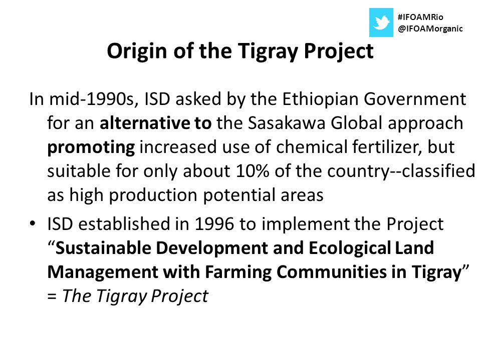 Origin of the Tigray Project