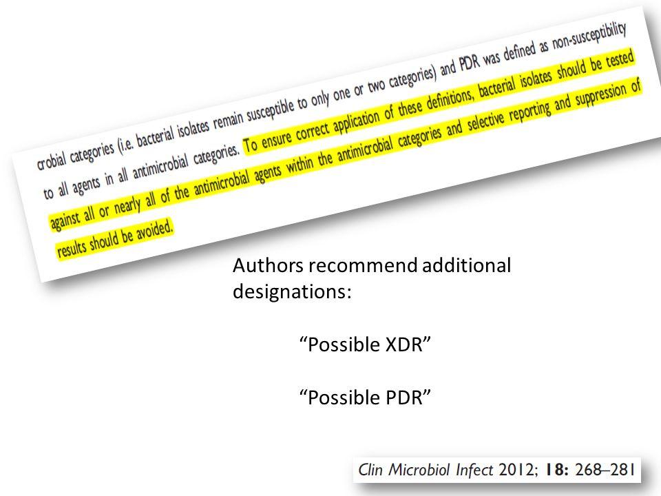 Authors recommend additional designations: