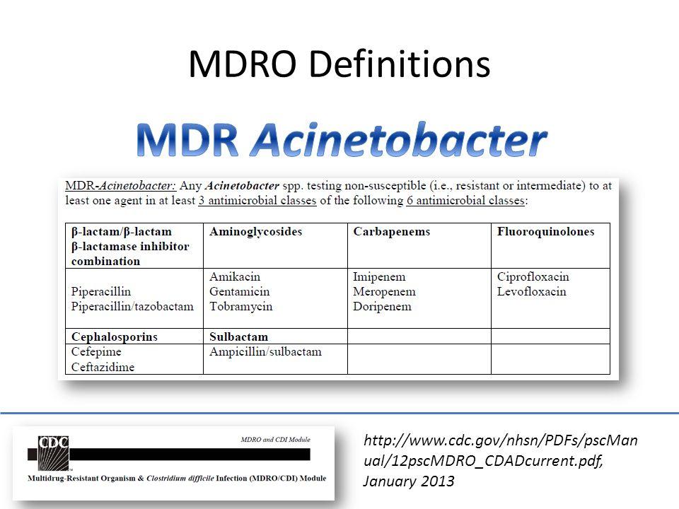 MDR Acinetobacter MDRO Definitions