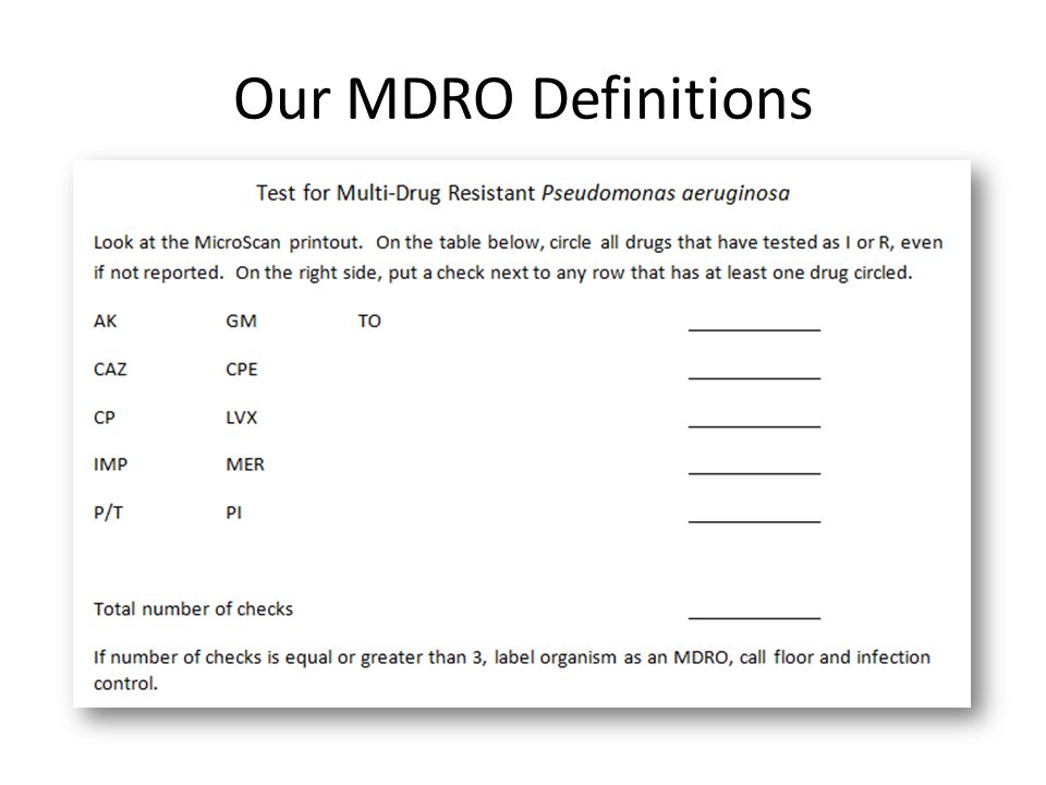 Our MDRO Definitions