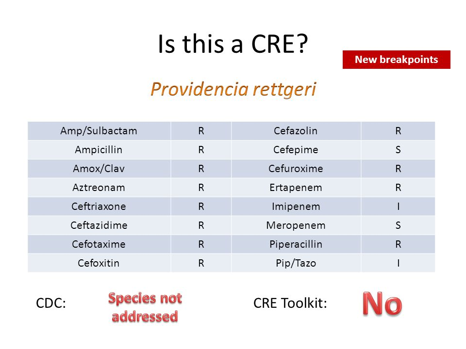 No Is this a CRE Providencia rettgeri Species not addressed CDC: