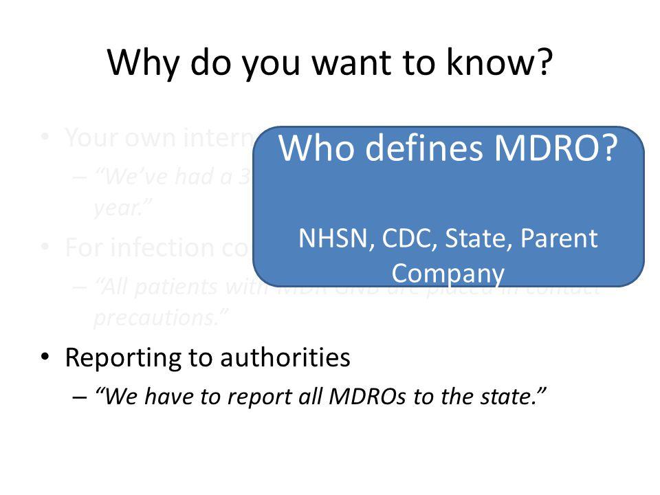 NHSN, CDC, State, Parent Company