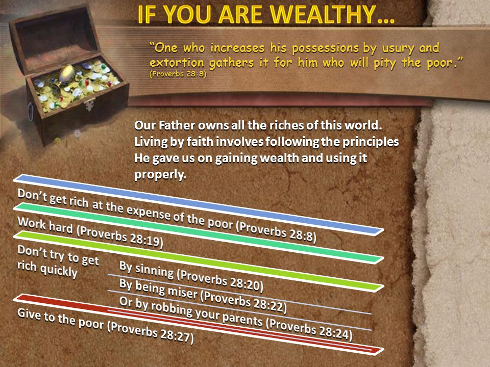 IF YOU ARE WEALTHY… One who increases his possessions by usury and extortion gathers it for him who will pity the poor. (Proverbs 28:8)